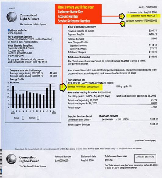 Eversource Energy (CL&P) Bill Information To switch Eversource Energy electricity providers, you will need three items on your electric bill: Customer Name Key: Your CL&P customer name key is the first four letters of your last name and can be found in the top right of your Eversouce Energy bill.