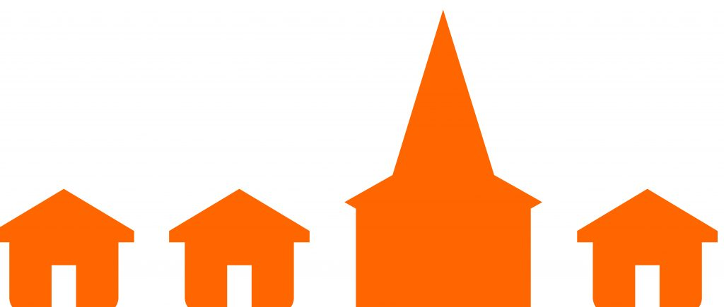 Master file of houses and steeple from master logo in Orange