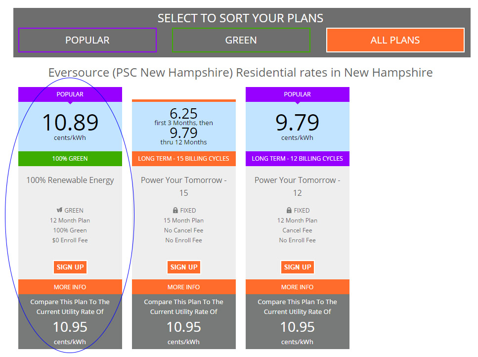 How To Select A 100% Green Energy Plan From Town Square Energy- New Hampshire Example
